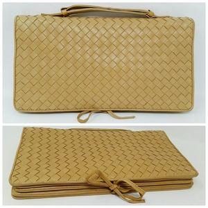 Bottega Veneta Camel Woven Nappa Leather Clutch